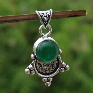 925 Sterling Silver Plated Green Onyx Handmade Pendant Jewelry DP20-106