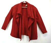 Chico's Women's Size 2 Long Sleeve Long Open Wool Casual Cardigan Sweater Red