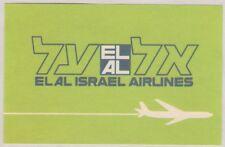 VINTAGE EL AL ISRAEL AIRLINE LUGGAGE LABEL
