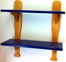 USA Sports Themed 2 Tier Wooden Shelving Wall Baseball Book Shelf Storage Blue