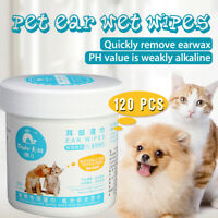 120Pces Pet Ear Wipes Dog Cat Earwax Remover Cleaning Tear Stains Grooming Wipes