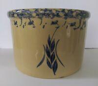 RRP Co. 1 Qt Low Stoneware Crock w/Blue Wheat Pattern & Sponged Rim USA.  NICE