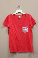 RED DEEP CUT V-NECK WITH POCKET T- SHIRT..  SIZE: ADULTS LADIES LARGE