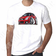WickedArtz Cartoon Car Red Suzuki swift Sport Mens White T-shirt