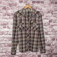 Salt Valley Men's Western Pearl Snap Shirt Brown Beige Crinkle Plaid size Medium