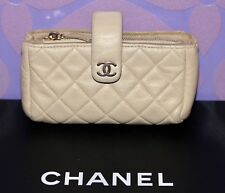 CHANEL O Case Mini Clutch Bag Wallet Pouch Gold Metallic Quilted Leather LIMITED