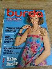MAGAZINE BURDA VINTAGE LES VACANCES ROBES D'ETE JUPE PLISSEE JUILLET 1978