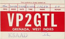 QSL GRENADA WEST INDIES RADIO AMATORI CARD 1966