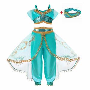 2021 Arabian Princess Girls Dress Up Fairytale Outfit Jasmine Costume Headband