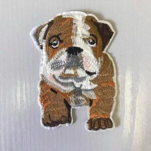 Bulldog Puppy Embroidered Iron or Sew on Applique, Badge, Patch