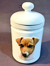Smooth Jack Russell Terrier Dog Treat Jar Ceramic Canister Discounted! Save!