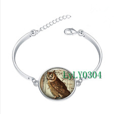 Wise Old Owl glass cabochon Tibet silver bangle bracelets Fashion