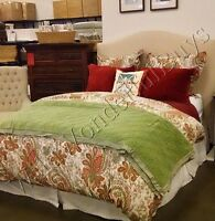 Pottery Barn Charlie Duvet Cover Set Red Warm Queen 2 Euro Shams Floral New