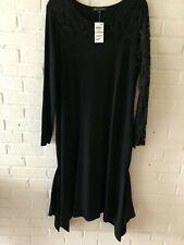 INC Womens Black Lace-Sleeve Mock-Neck Shift Sweaterdress XS BHFO 1193