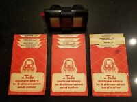 Vintage 1950's Tru Vue Viewer & 12 3D Color Picture Cards Disney Crusoe Robin