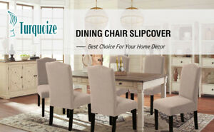 NEW~6-Pack Textured Stretch Dining Room Chair Slipcovers/Covers in Khaki