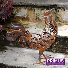 Primus Hand Crafted Metal Rusty Rooster Aged Garden Ornament Bird Rustic Gift