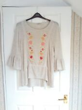 TU size 16 pretty 3/4 bell sleeve jumper, biscuit coloured with lovely embroider