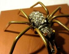 """STONE ENCRUSTED VICTORIAN BRASS LARGE SPIDER BROOCH...NO MISSING STONES 2 1 /2"""""""
