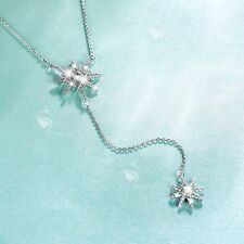 18K WHITE GOLD MADE WITH SWAROVSKI CZ METEORITES STAR PENDANT NECKLACE