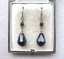 Crystal Tear Drop Earrings Handmade Vintage Deco Inspired Black