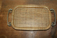 Vintage Mid Century Modern /Hollywood Regency Footed Woven Rattan Tray