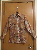 Vtg 60s 70s MARCO Men's Disco Shirt POLYESTER Earthy Autumn Flora/Fauna Sz S,