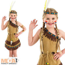 Girls Indian Girl Costume Plus Headpiece Kids Childrens Red Indians Fancy Dress S - Small