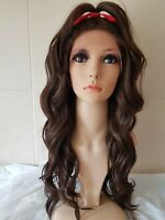 Dark Brown human hair lace wig, silk based lace, hand tied, brunette