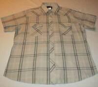 Mens Wrangler Western Tan Gray Plaid Pearl Snap Short Sleeve Shirt Size XL