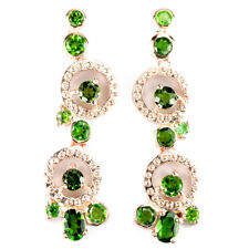 NATURAL AAA GREEN CHROME DIOPSIDE ROUND STERLING 925 SILVER DANGLE EARRING