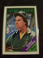 TONY LARUSSA 1988 TOPPS AUTOGRAPHED SIGNED # 344 HOF Oakland White Sox IP Auto