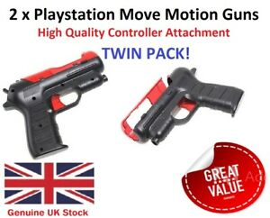 2 x Playstation Move Motion Pistol Blaster Gun Attachment for PS3 & PS4 VR