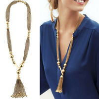 Vintage Women Soft Luxury Golden Tone Bead Twisted Tassels Chain Long Necklace