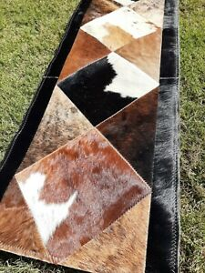 NEW COWHIDE TABLE RUNNER PATCHWORK CARPET AREA RUG LEATHER - TEXAS - AMAZING !