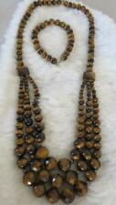 Tigers Eye Round Faceted Bead Triple Strand Silver Clasp Necklace & Bracelet Set