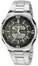 Casio AQ164WD-1A Mens Stainless Steel Analog Digital Sports Watch Dual Time NEW