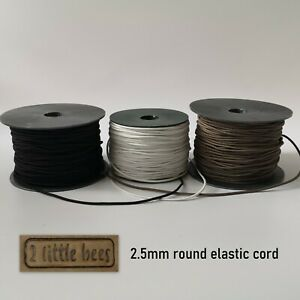Round Elastic Cord Shoe laces 2.5mm Sewing Craft Accessories String Black White
