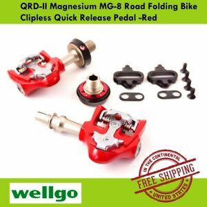 Wellgo QRD-II Magnesium MG-8 Road Folding Bike Clipless Quick Release Pedal -Red