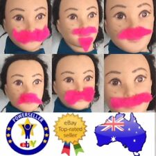 FAKE FALSE BEARD MOE MOUSTACHE HEN PARTY HOT PINK LOT OF 7pcHAIR COSTUME DRESSUP