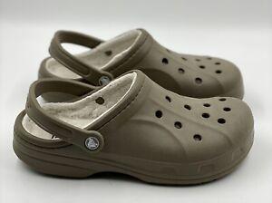 Crocs Classic Lined Brown Tan Clog Shoes Faux Lining 16244 Men's 8 Women's 10