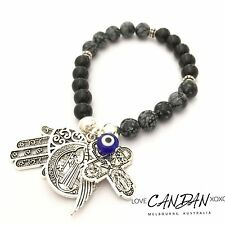Evil Eye Hamsa Angel Wing 5 Way Travelers Cross Saint Benedict Charm Bracelet