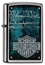 ZIPPO Feuerzeug Harley Davidson LOGO Brushed Chrome Motorrad Biker Bike NEU OVP