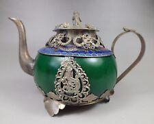 Chinese handwork old green jade bracelet inlay tibet-silver dragon teapot