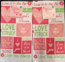 Set Of 2 Valentine Heart Words Love Red Pink Kitchen Hand Tea Towels Cloth