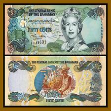 Bahamas 1/2 Dollar / Half, 50 Cents, 2001 P-68 Queen Elizabeth II Unc