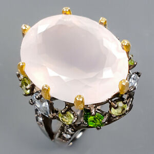 Jewelry Handmade Rose Quartz Ring Silver 925 Sterling  Size 9 /R178027