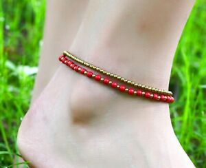 Women Bohemia Turquoise & Copper Bead Double Chain Foot Anklet Bracelet 8-9.5""