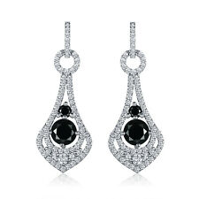 Ladies 18K White Gold Filled Black Onyx Topaz Hoop Dangle Earrings Wedding Party
