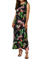 Women's Size 8,10,12,14,16,18 Wallis Black Tropical Print Maxi Dress (b10)
